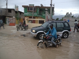 Haiti Relief Flight Flooded Road