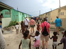 Haiti Relief Flight St Mary Group Walking